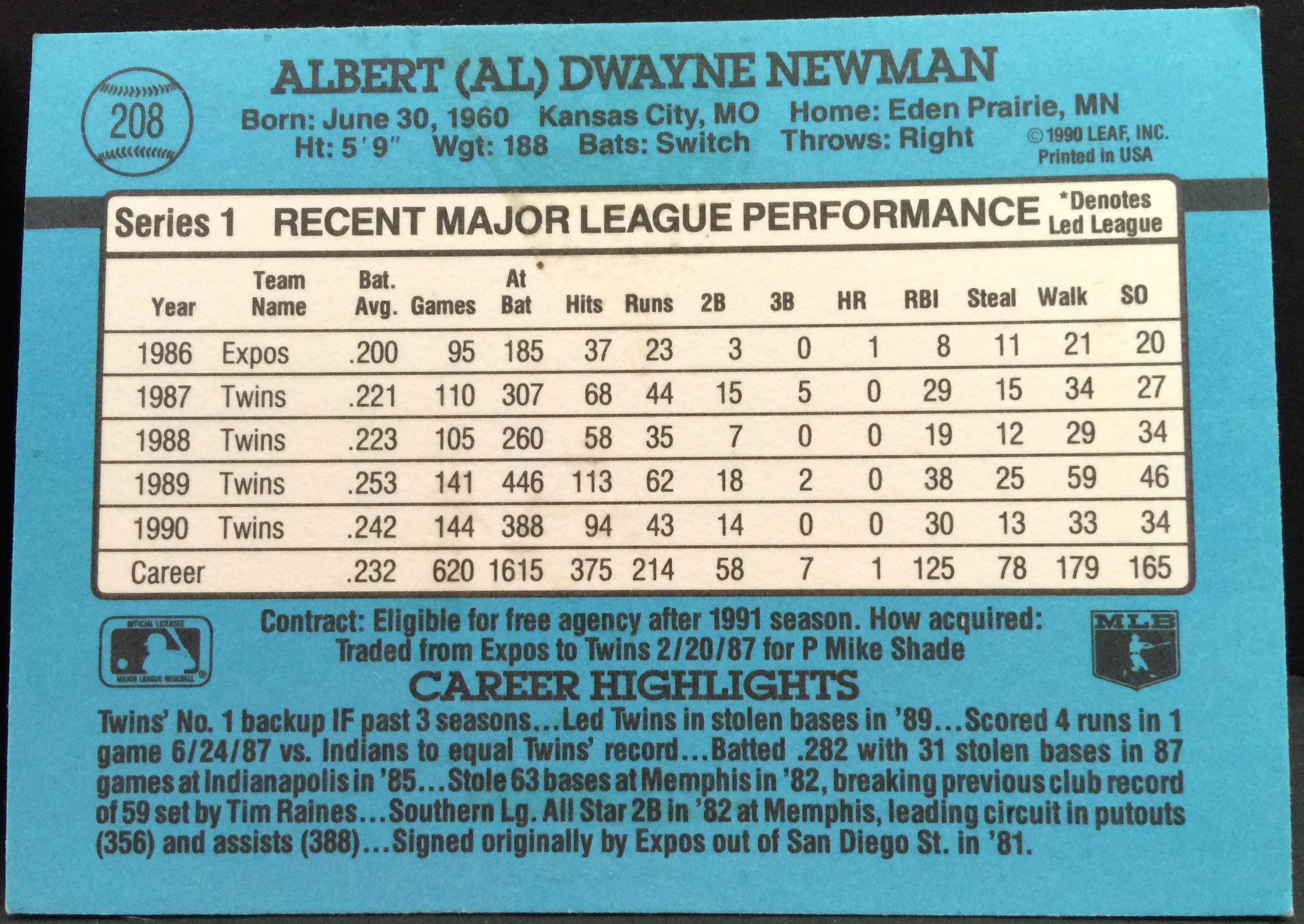 Al Newman Baseball Player Card