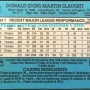 Donald Martin Slaught Baseball Card Back